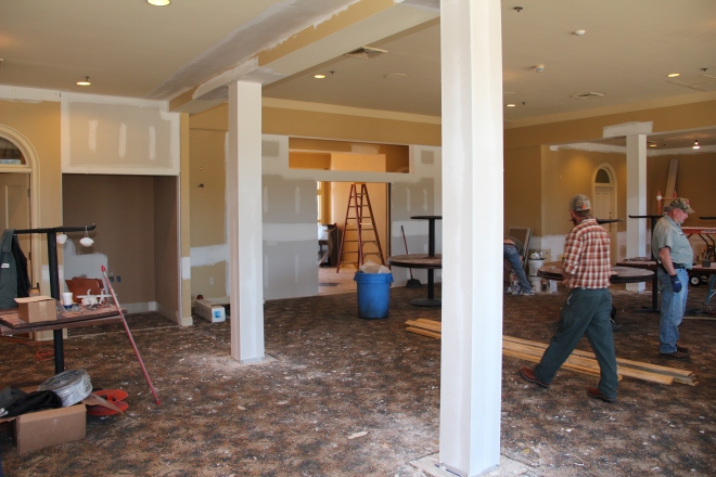 """Work continues on what will be the """"River Grille"""" restaurant."""
