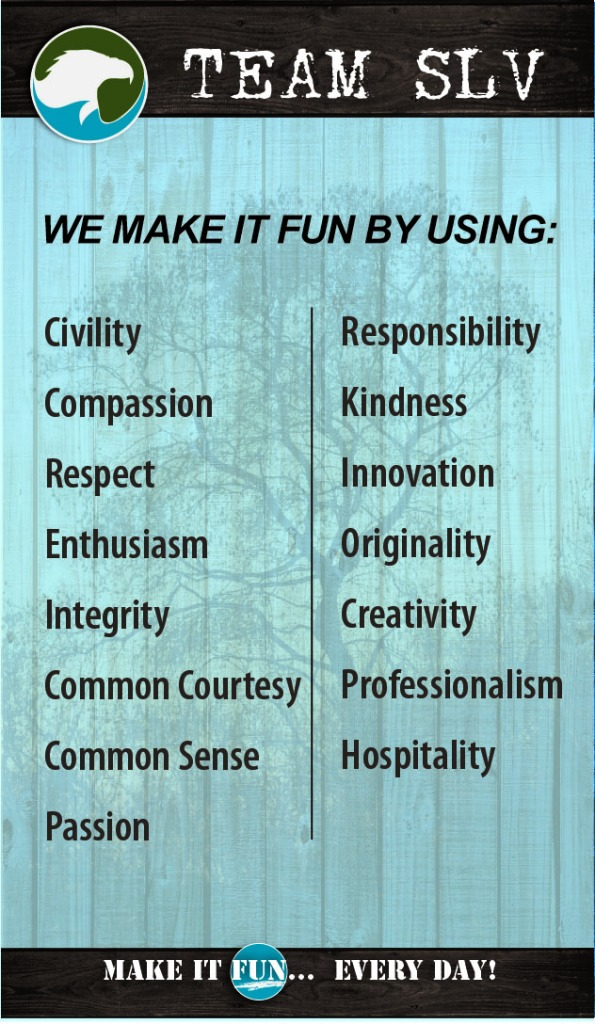 Our values for making it fun.