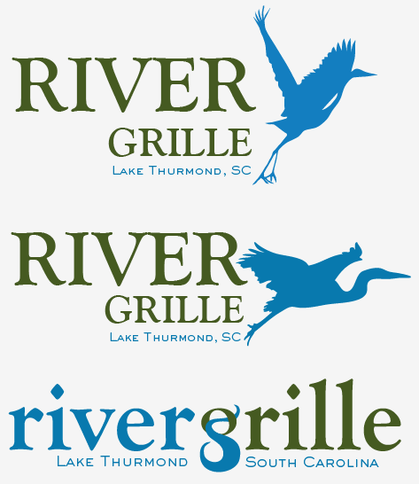 "The new restaurant for the Tara Clubhouse has been named the ""River Grille.""  Here are a few preliminary logo concepts."